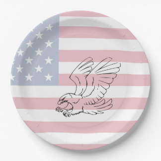 American Flag with Eagle Patriotic Paper Plates 9 Inch Paper Plate