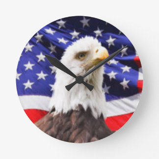 American Flag with Eagle Round Clock