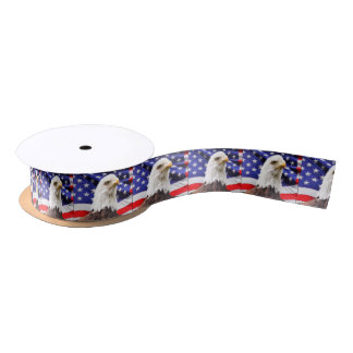 American Flag with Eagle Satin Ribbon
