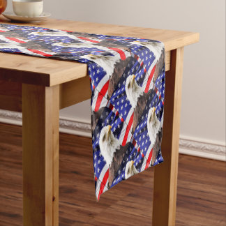 American Flag with Eagle Short Table Runner