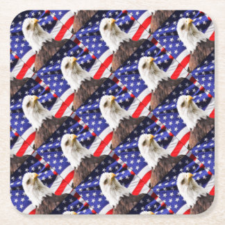 American Flag with Eagle Square Paper Coaster