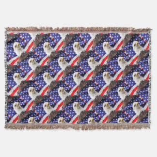 American Flag with Eagle Throw Blanket