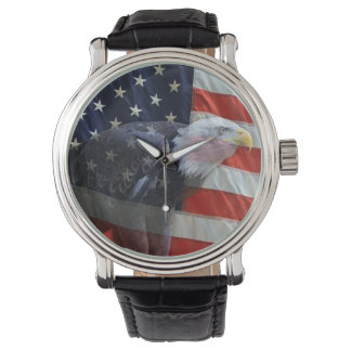 American Flag with Eagle Watch
