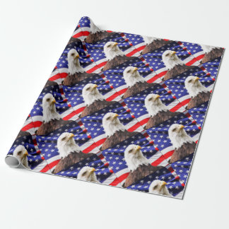 American Flag with Eagle Wrapping Paper