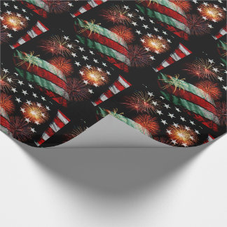 American flag with fireworks wrapping paper
