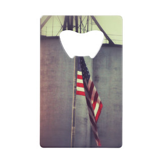 American Flag with Grain Bins Credit Card Bottle Opener