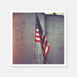 American Flag with Grain Bins Disposable Napkins