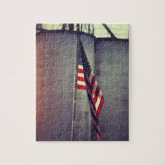 American Flag with Grain Bins Jigsaw Puzzle