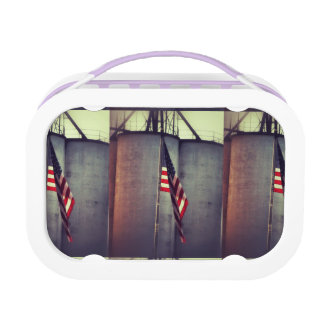 American Flag with Grain Bins Lunch Box