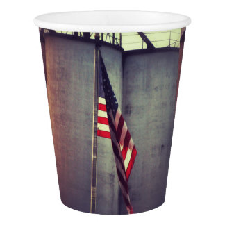 American Flag with Grain Bins Paper Cup