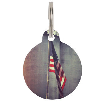 American Flag with Grain Bins Pet Name Tag