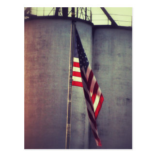 American Flag with Grain Bins Postcard