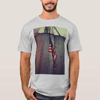 American Flag with Grain Bins T-Shirt