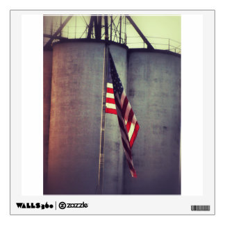 American Flag with Grain Bins Wall Decal