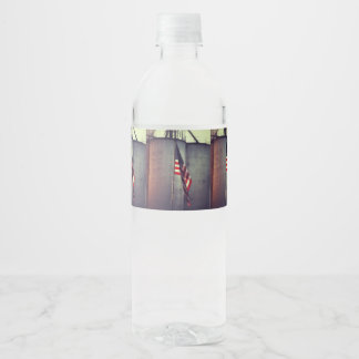 American Flag with Grain Bins Water Bottle Label