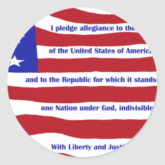 American flag with Pledge on stripes Classic Round Sticker