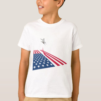 American flag with USA fighter plane taking off T-Shirt