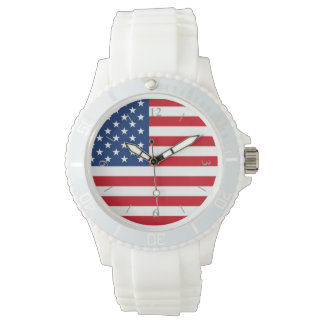 American Flag Women's White Watch