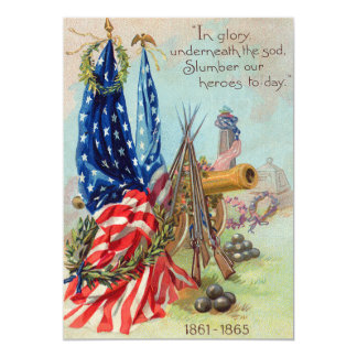 American Flag Wreath Civil War Memorial Card