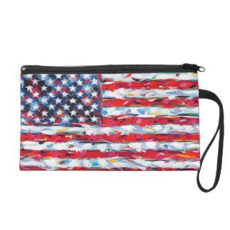 American Flag Wristlet