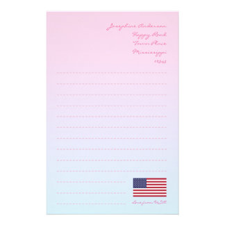 American Flag Writing Paper Personalized Stationery