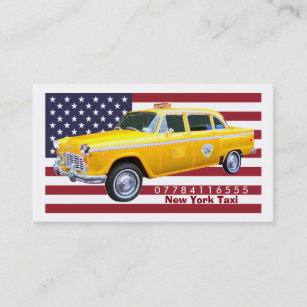 American Flag Yellow Taxi Cab Business Card