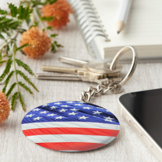American Flag, you can add text and upload photos Basic Round Button Keychain