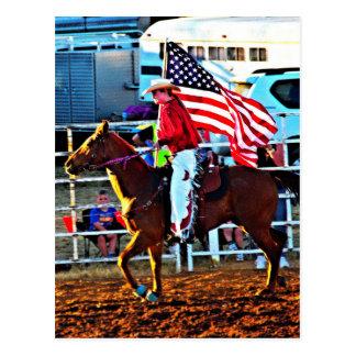 American Flage bearer at the Merbein Rodeo Postcard