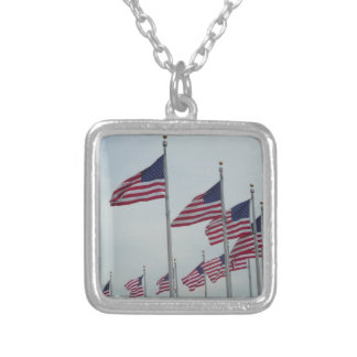 American Flags at the Washington Monument Silver Plated Necklace