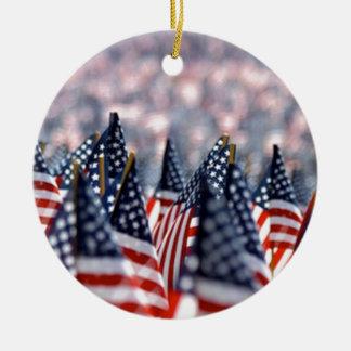 American Flags Ceramic Ornament