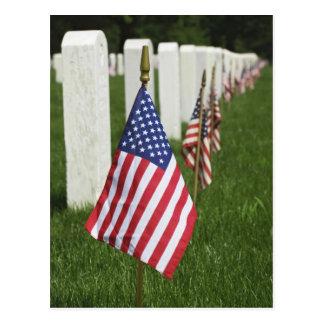 American flags on tombs of American Veterans on 2 Postcard