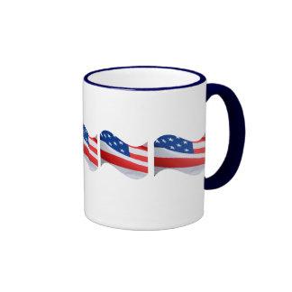 American flags on white mug. ringer mug