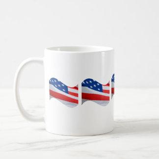 American flags on white mug. basic white mug