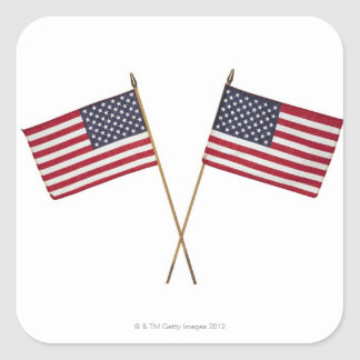 American flags square sticker