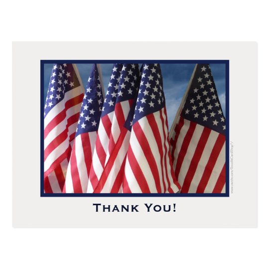 American Flags Thank You Postcard
