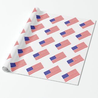 American Flags USA Wrapping Paper