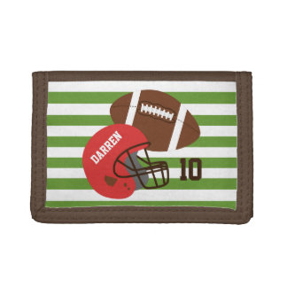 American Football and Red Helmet Trifold Wallets