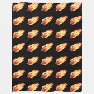 American Football Flaming Black Fleece Blanket