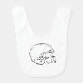 American Football Helmet Black and White Drawing Baby Bibs
