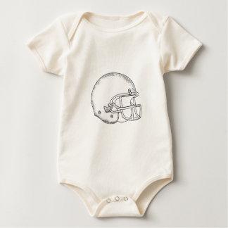 American Football Helmet Black and White Drawing Baby Bodysuit