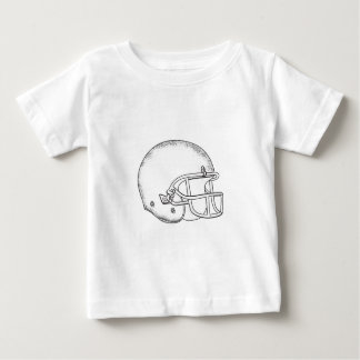 American Football Helmet Black and White Drawing Baby T-Shirt