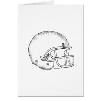 American Football Helmet Black and White Drawing Card