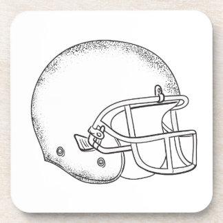 American Football Helmet Black and White Drawing Coaster
