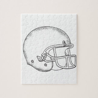American Football Helmet Black and White Drawing Jigsaw Puzzle
