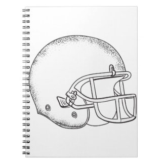 American Football Helmet Black and White Drawing Notebook