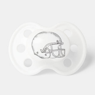 American Football Helmet Black and White Drawing Pacifier