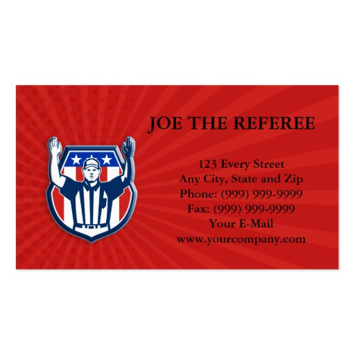 American Football Official Referee Touchdown Business Card Template