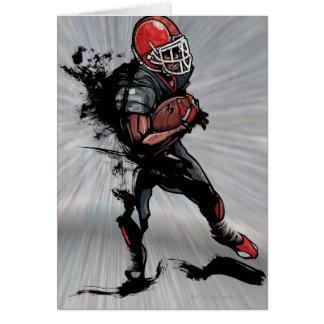 American football player holding football greeting card
