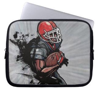 American football player holding football laptop sleeve