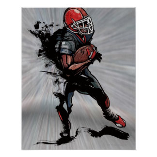 American football player holding football poster